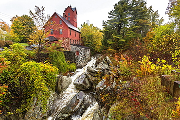 Historic red Grist Mill in Jericho, Vermont, USA