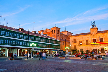 Main Square, night view. Almagro, Ciudad Real province, Castilla La Mancha, Spain.