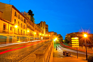 San Juan street, night view. Segovia, Castilla Leon, Spain.