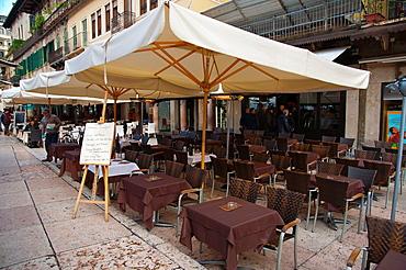 Restaurant cafe terrace Piazza delle Erbe square old town Verona city the Veneto region northern Italy Europe