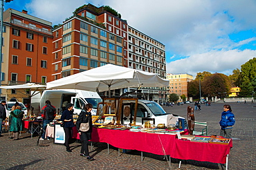 Piazza VIII Agosto flea and antiques market central Bologna city Emilia-Romagna region northern Italy Europe