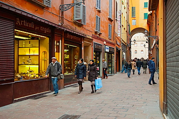 Via Clavature street Quadrilatero district Bologna city Emilia-Romagna region northern Italy Europe