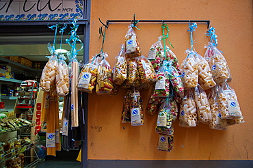 Pasta and spaghetti hanging outside a shop Spaccanapoli street centro storico the old town Naples city La Campania region southern Italy Europe