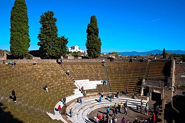 Teatro Grande the Grand Theatre from 2nd century BC Pompeii the Roman city buried in lava near Naples in La Campania region southern Italy Europe