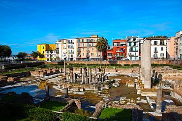 Tempio di Serapide a Roman era Macellum the market place central Pozzuoli the ancient Puteoli in Campi Flegrei area La Campania region southern Italy Europe