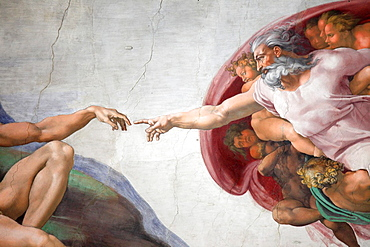 The Creation of Adam by Michelangelo at the Sistine chapel, Vatican, Rome, Italy