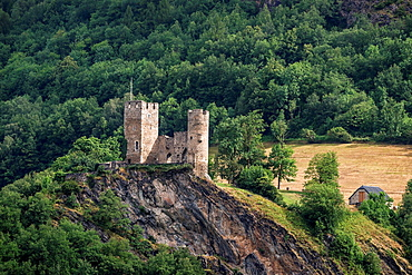 Ruins of castle of St. Mary in Luz-Saint-Sauveur in Hautes-Pyrenees, France