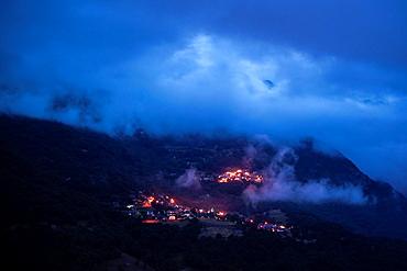 Small town Luz-Saint-Sauveur at night. Hautes-Pyrenees, France.