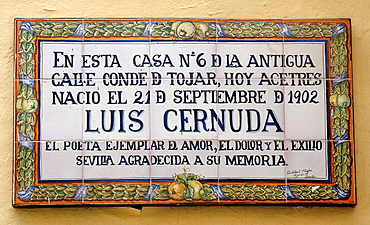 Birthplace of the poet Luis Cernuda, Seville, Spain