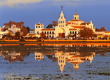 Village and Church Ermita del Rocio, Donana National Park, Almonte, Huelva-province, Spain