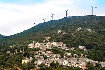 Europe, France, Haute Corse 2B, Cap Corse Rogliano, the village and the wind farm in a background
