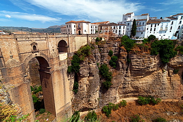 famous town of Ronda, Puente Nuevo, new bridge in front, inland of Andalusia, Spain