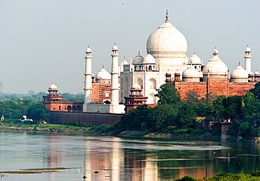 Taj Mahal on banks of River Yamuna Agra Uttar Pradesh India