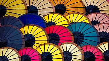 Colorful parasol display night market Luang Prabang Laos