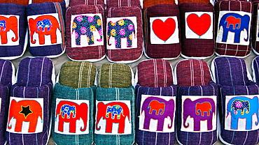 Elephant design slip-on slippers night market Luang Prabang Laos