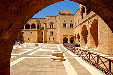 Inner courtyard of the 14th century medieval palace of the Grand Master of the Kinights of St John, Rhodes, Greece UNESCO World Heritage Site