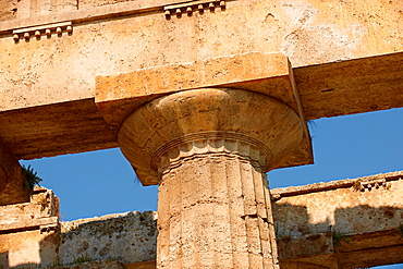 Close up of the ancient Doric Greek capitals & columns of the Temple of Hera of Paestum built in about 460-450 BC Paestum archaeological site, Italy