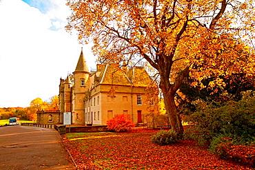 Callendar House in wonderful autumnal park of Falkirk, Scotland