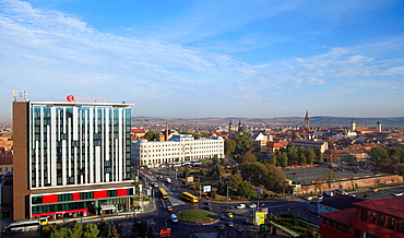 Romania, Sibiu, skyline, aerial view, panorama,