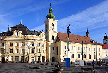 Romania, Sibiu, Piata Mare, Town Hall, Holy Trinity Catholic Church,