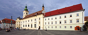 Romania, Sibiu, Piata Mare, Brukenthal Palace, Town Hall, Holy Trinity Catholic Church,
