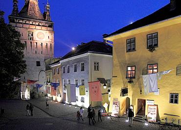 Romania, Sighisoara, Clock Tower, old town, street scene, night,