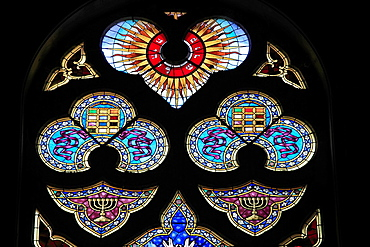 Hungary, Szeged, New Synagogue, interior, stained glass windows,