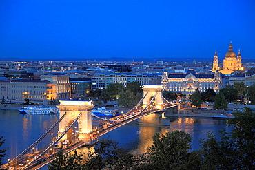 Hungary, Budapest, Chain Bridge, Gresham Palace, Basilica, Danube River,