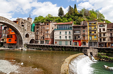 Camprodon, Catalonia, Spain Pyrenees, Houses Over Ter River