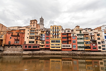 Girona, Catalonia, Spain Colored Houses Over Onyar River