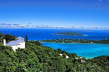 St Thomas in capital of Charlotte Amaliein from the famous Mountaintop Resort overlooking the beautiful Magens Bay