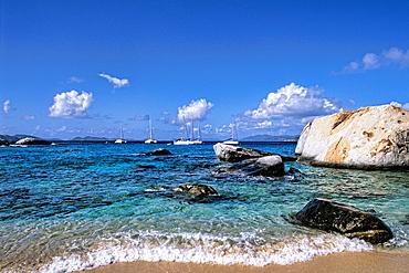 Beautiful rock formation boulder rocks with blue water ocean at The Baths of Virgin Gorda in British Virgin Islands