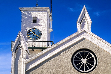Famous colorful pastel architecture of St Peters Church in St Georges Island Bermuda