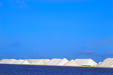 Mountains of Salt from mines in Bonaire in the Caribbean