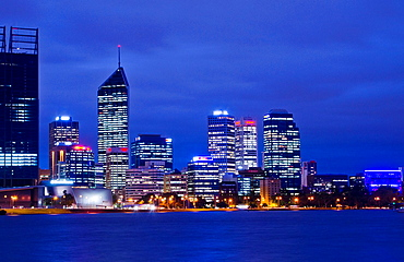 Beautiful skyline of Perth at twilight from water in Western Australia