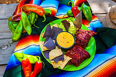 Fiesta platter chile con queso, guacamole, red chile ribs and tortilla chips with red and green chiles in background, El Pinto Restaurant and Cantina, Albuquerque, New Mexico USA