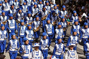 Naha, Okinawa, Japan, Falun Dafa group along Kokusai-dori during the Naha Festival, October