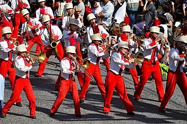 Naha, Okinawa, Japan, musical band along Kokusai-dori during the Naha Festival, October