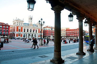 Main Square at dusk. Valladolid, Castilla Leon, Spain