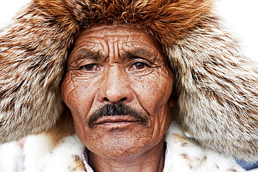 Mongolia, Ulan Bator, Sukhbaatar square, costume parade for the Naadam festival, kazakh man