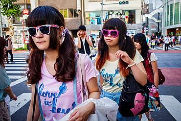 Girls in Takeshita Dori Tokyo city, Japan, Asia