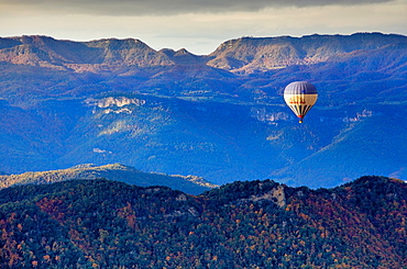 On balloon over Garrotxa Natural Park,Girona province, Catalonia, Spain