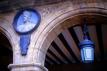 Plaza Mayor,Main Square,detail of a medallion, Salamanca,Spain