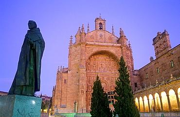 Monument to Francisco de Vitoria and San Esteban Church, Salamanca, Spain