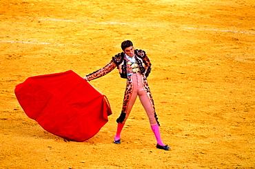 Bullfighter  Bullfight at the Plaza de Toros of `La Maestranza¥, Seville, Andalusia, Spain, Europe