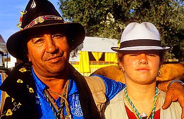 Pilgrims, Juan Palacios with his daughter in Donana Palace,Romeria del Rocio, pilgrims on their way through the Donana National Park, pilgrimage of Sanlucar de Barrameda brotherhood, to El Rocio, Almonte, Huelva province, Andalucia
