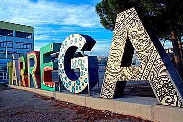 letters, sculpture, Tarrega, Catalonia, Spain