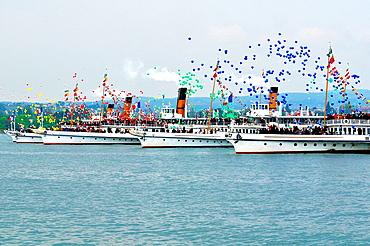 Steamboat Parade, Morges, Lake Geneva, Switzerland, balloons, people, celebration