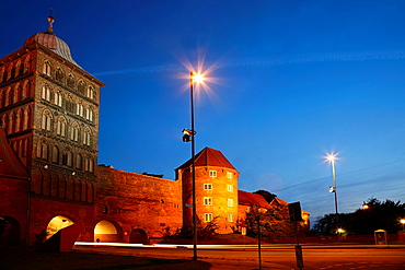 Burgtor, Castle gate in the evening, Luebeck, Schleswig-Holstein, Hamburg, Germany