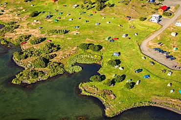 Aerial of campground, Lake Myvatn, Northern Iceland